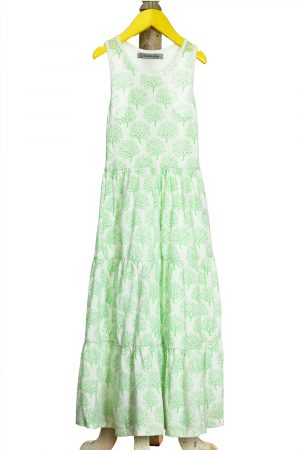 coral-printed-paneled-maxi-dress-for-girls-green-1