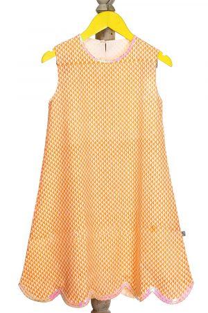 geometric-printed-scallop-hem-dress-for-girl-orange-1