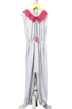 lace-collar-cinched-waist-jumpsuit-for-girls-grey-1