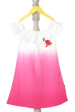 ombre-off-shoulder-dress-with-flamingo-brooch-for-girls-1