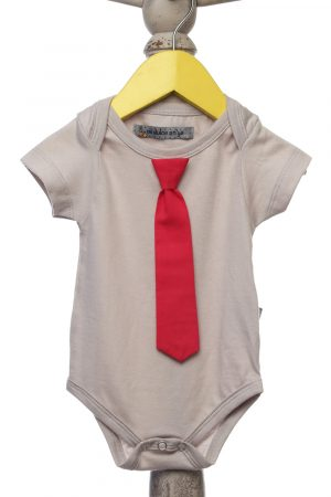 onesie-with-hot-pink-detachable-tie-grey-color-for-baby-boy