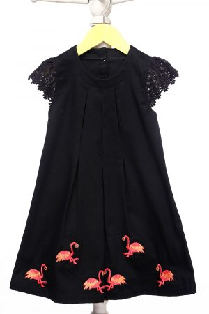 pleated-flamingo-embroidered-formal-dress-for-girls-black-1