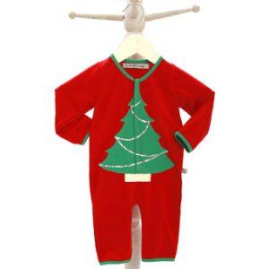 Red Christmas Sleepsuit with Xmas Tree